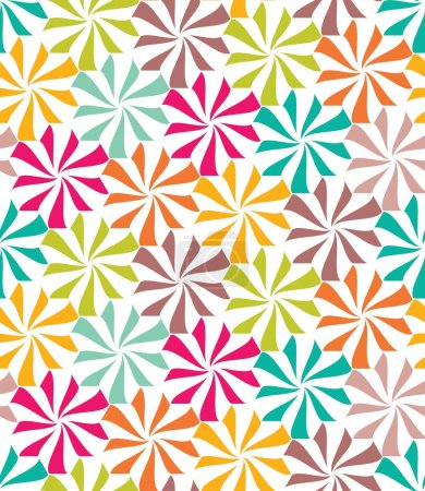 Illustration for Vector modern seamless colorful geometry pattern, flowers, color abstract geometric background, trendy multicolored print, retro texture, hipster fashion design - Royalty Free Image