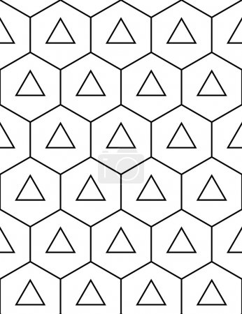 Vector modern seamless sacred geometry pattern hexagon triangles, black and white abstract geometric background, trendy print, monochrome retro texture, hipster fashion design