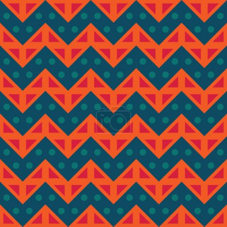 Vector modern seamless colorful geometry chevron lines pattern, color blue orange, abstract geometric background, trendy multicolored print, retro texture, hipster fashion design