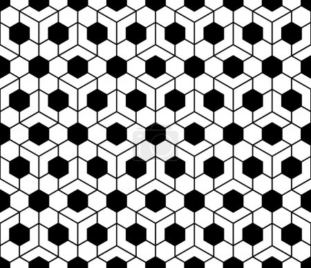 Vector modern seamless sacred geometry pattern honeycomb, black and white abstract geometric background, pillow print, monochrome retro texture, hipster fashion design