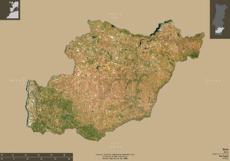 Photo pour Beja, district du Portugal. Imagerie satellite Sentinel-2. Forme isolée sur fond solide avec des superpositions informatives. Contient des données modifiées de Copernicus Sentinel - image libre de droit