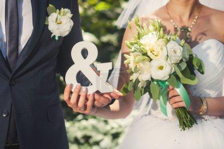 Couple de mariage avec signes MR et MRS