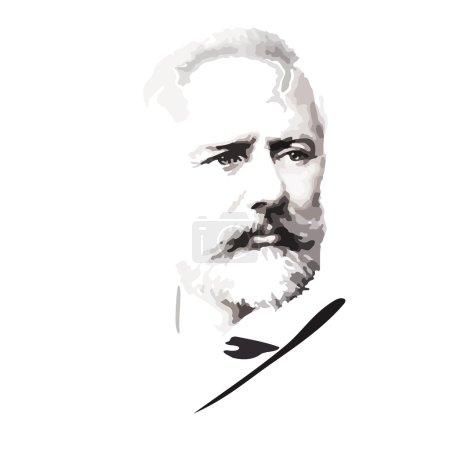 Illustration pour Le compositeur russe Tchaïkovski. Présentation graphique . - image libre de droit