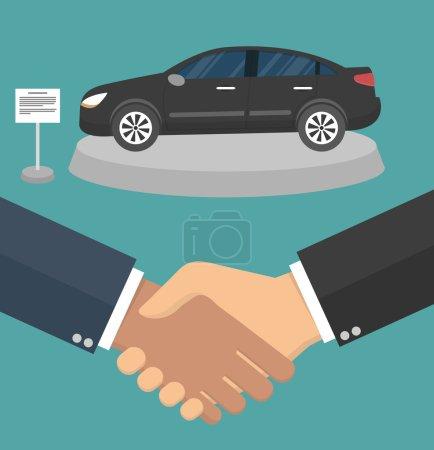 Illustration pour Une poignée de main et une voiture noire sur un stand en arrière-plan. Style plat - image libre de droit