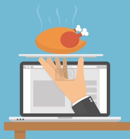 Illustration for Ordering food online concept. Hand holding silver serving tray with a hot roasted or grilled chicken on it on a laptop display. Flat style - Royalty Free Image