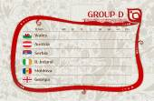 Football group D table of results vector template