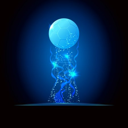 Illustration of soccer cup or championship, glowing blue concept