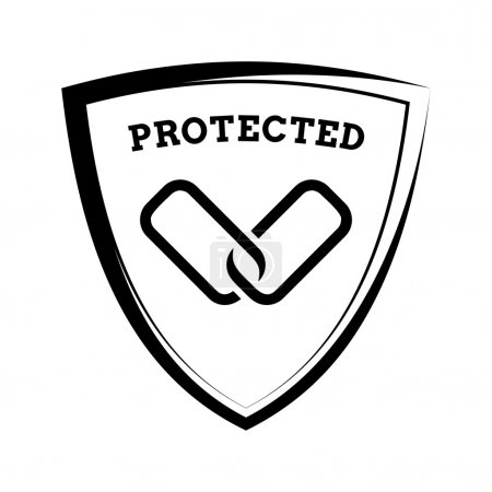 Shield icon - links protected, black and white template
