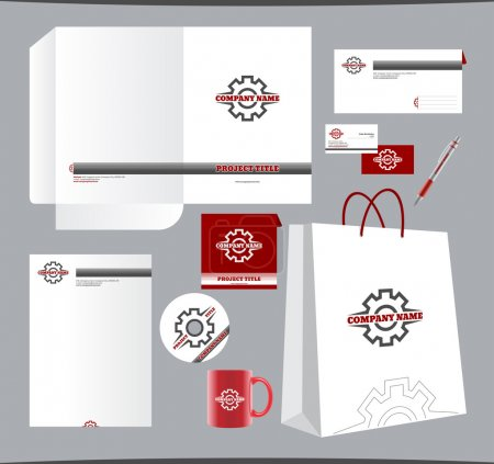 "Stationery template ""Gear"" design set,  corporate identity"