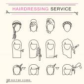 Hairdressing service Line Icons Set EPS 8