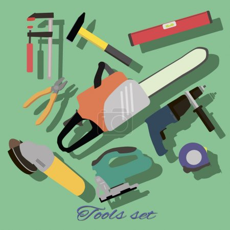 Illustration for Hand Tools Set - Royalty Free Image