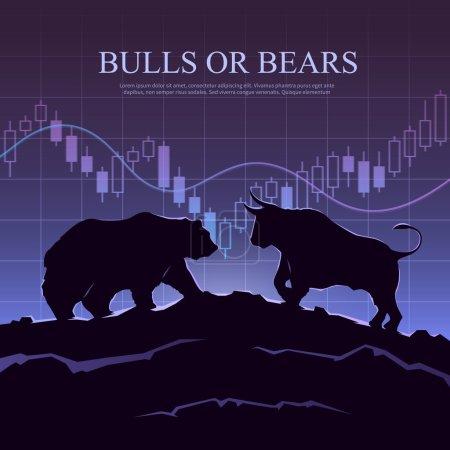 La cotation illustration. Les taureaux et les ours