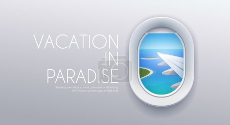 Illustration for View from plane View from airplane. Window plane. Airplane view. Aircraft window. Flight window. Airline passenger. Vacation destinations. Summer holiday. Tropical beach. Flat web vector banner. - Royalty Free Image