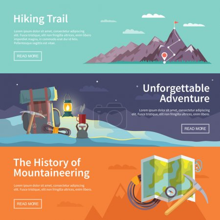 Illustration for Colorful vector flat banner set. Quality design illustrations, elements and concept. The history of mountaineering. Unforgettable adventure. Hiking trail. - Royalty Free Image