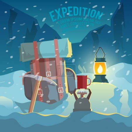 Illustration for Colorful vector poster. Quality design illustrations, elements and concept. Conquering the summit. Expedition. - Royalty Free Image