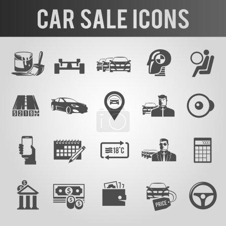 Illustration pour Icônes noires simples sur le thème de la vente de voitures - image libre de droit