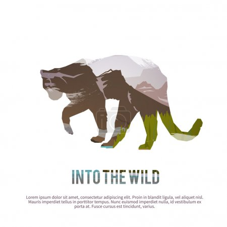 Illustration for Into wild nature concept with abstract puma - Royalty Free Image
