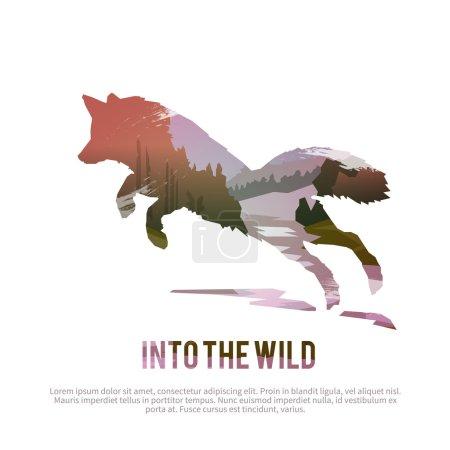 Illustration pour Concept de nature sauvage avec renard de chasse abstrait - image libre de droit