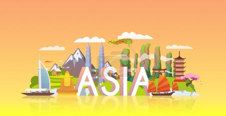 Illustration for Vacations in Asia concept with colorful attractions - Royalty Free Image