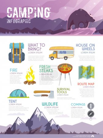 Illustration for Colourful camping vector infographic in purple tones - Royalty Free Image