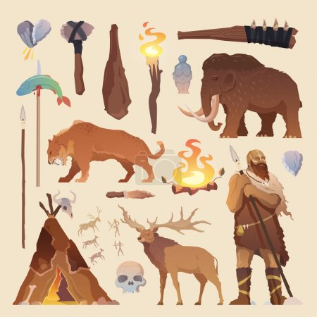 Illustration for Great vector set of elements for your projects. Primitive man. Ice age. Cavemen. Stone age. Neanderthals. Homo sapiens. Extinct species. Evolution. Hunting Flat design. - Royalty Free Image