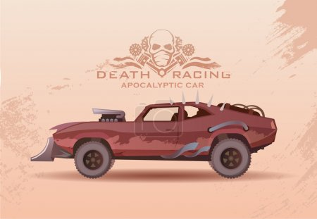 Illustration for Concept on the theme of cars of the future, post-Apocalypse, Apocalypse, nuclear disaster, death race, buggy, off-road racing, tuning cars. Vector poster in modern flat design. - Royalty Free Image