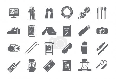 Hiking vector black and white icons