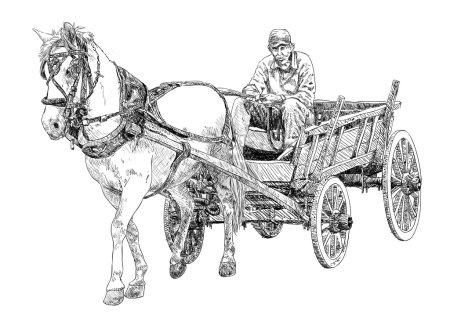 Illustration pour Cheval Chariot Dessin vecteur - image libre de droit