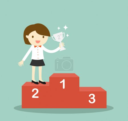 Business concept, business woman standing on 2nd winning podium and holding silver trophy. Vector illustration.