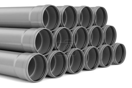 Photo pour D'égout pipes avec élastique à l'intérieur, isolé sur fond blanc - image libre de droit