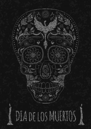 Illustration for Dia de Muertos. Illustration of traditional Mexican skull with lots of hypnotic ornaments and phoenix Day of The Dead on the stone texture. monochrome. contour. Flyer Template. Vector Illustration - Royalty Free Image