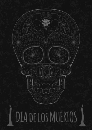 Illustration for Dia de Muertos. Illustration of traditional Mexican skull with lots of hypnotic ornaments and cobra to the Day of The Dead on the stone texture. monochrome. contour. Flyer Template Vector Illustration - Royalty Free Image