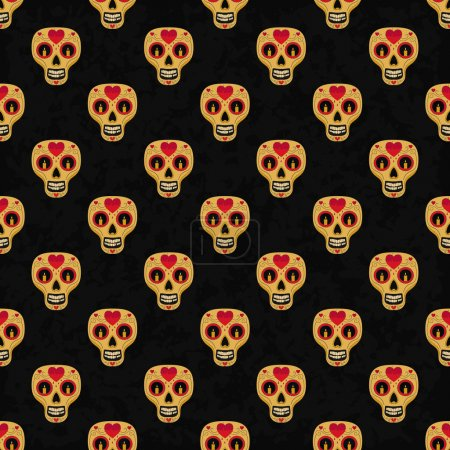 Illustration for Dia de Muertos. Illustration of traditional Mexican skull with lots of ornaments and hearts to the Day of The Dead. Colorful in orange. contour. Seamless pattern. Vector Illustration - Royalty Free Image