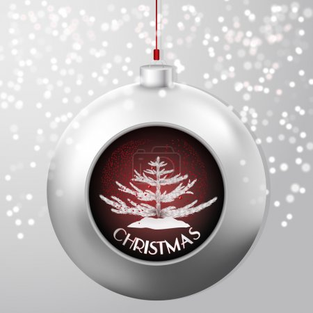 Christmas Ball with a fir and red confetti storm inside on the chick snowy backdrop