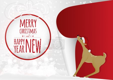 A christmas card with sweet baby deer and greeting christmas ball