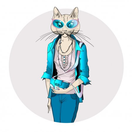 Fashion illustration of cat girl dressed up in casual style