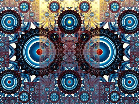 Abstract digitally generated image gears and geometric figures