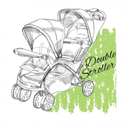 hand drawn stroller for twins. Double stroller