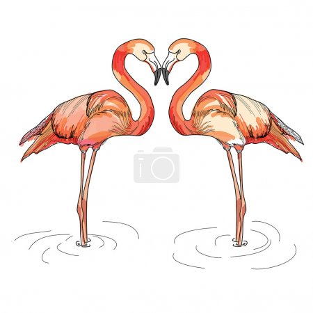 Illustration of love pink flamingos