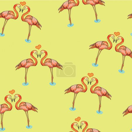 illustration of love pink flamingos in water