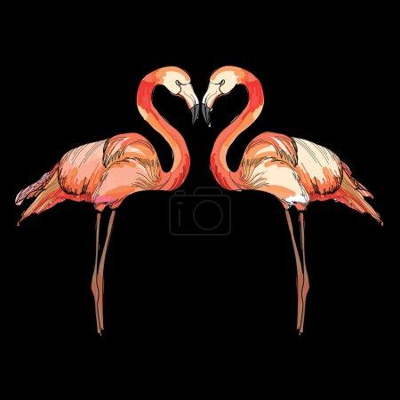 illustration of love pink flamingos