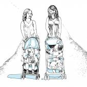 Illustration of mothers with children