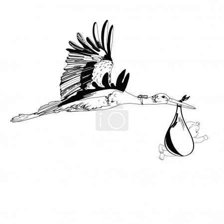 Illustration of stork with baby