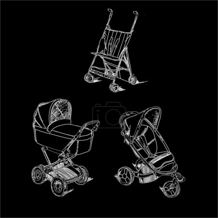 Set childen prams on black background
