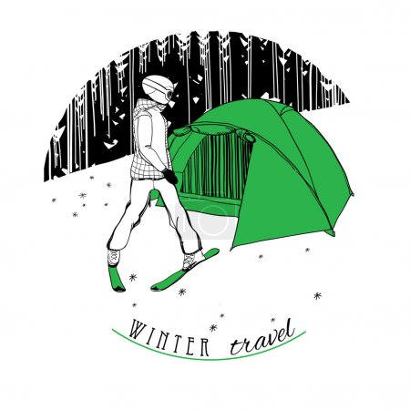 skier with a tent on snow