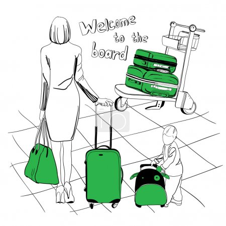 Illustration for Vector illustration of baggage set for airport. Logos design. Diferent suitcases - Royalty Free Image