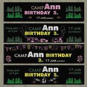 Vector illustartion of set of chalk board invitation for birthday in the camping