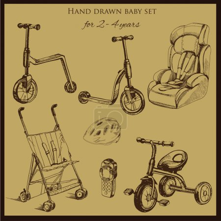 Retro hand drawn baby set for 2-4 years old