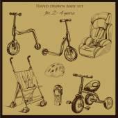 Retro kézzel rajzolt, baba 2-4 éves beállítása