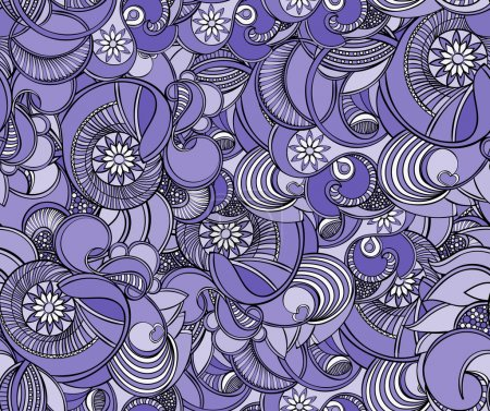 Multicolored floral seamless texture, waves. Elegance background